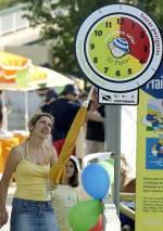 O relógio divide-se nas cores vermelho, o período de maior perigo de queimaduras solares, amarelo e verde