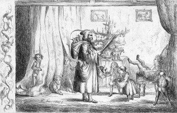 Gravura de D. Fernando II com o rei vestido de S. Nicolau