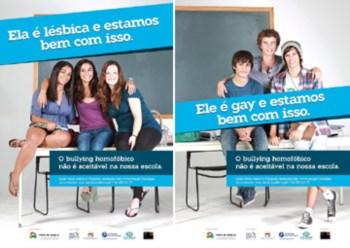 Cartazes da campanha contra o bullying homofóbico