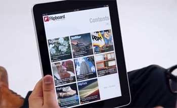 Concebido para iPad, o Flipboard permite criar uma revista digital feita a partir dos conteúdos que os amigos colocam nas redes sociais