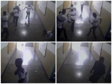 Imagens de câmara de segurança mostram os alunos a fugir da sala