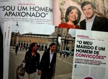 Passos e a mulher apareceram em duas revistas do grupo Cofina