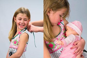 A boneca vende-se com uma blusa que simula os seios da criança