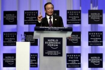 <p>Wen Jiabao na abertura do F&oacute;rum Econ&oacute;mico Mundial em Dalian</p>