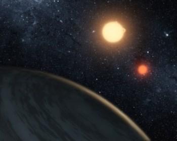 Uma representação do sistema estelar Kepler 16