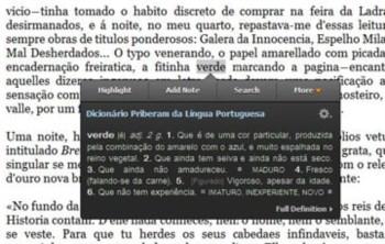 O Dicionário Priberam, a funcionar na aplicação Kindle para PC