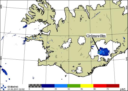A nuvem da erupção do Grímsvötn às 22h00