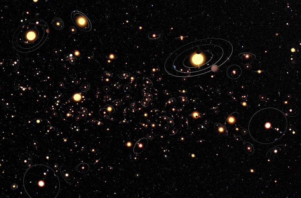 Uma representação da galáxia cheia de planetas