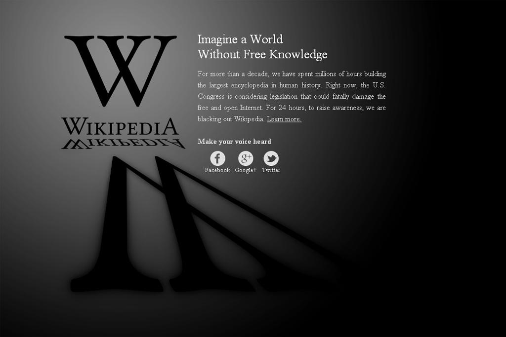 Primeira página da Wikipedia americana, hoje
