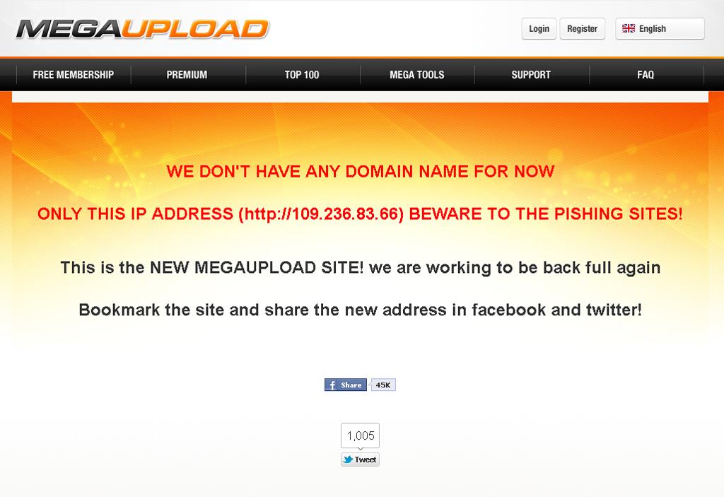 No endereço alternativo, o MegaUpload alerta os seus utilizadores para sites fraudulentos