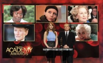 Jennifer Lawrence e Tom Sherak no momento em que anunciaram as nomeadas para melhor actriz