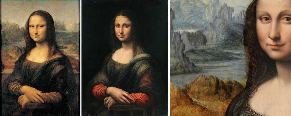 À esquerda a obra original de Leonardo da Vinci, ao centro a cópia antes do restauro, à direita um pormenor da paisagem que estava escondida por baixo do fundo negro