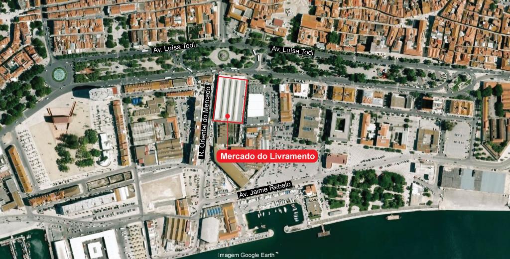 A localização do Mercado do Livramento, na avenida Luísa Todi