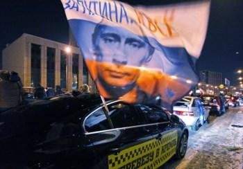 Apoiantes de Vladimir Putin em Moscovo