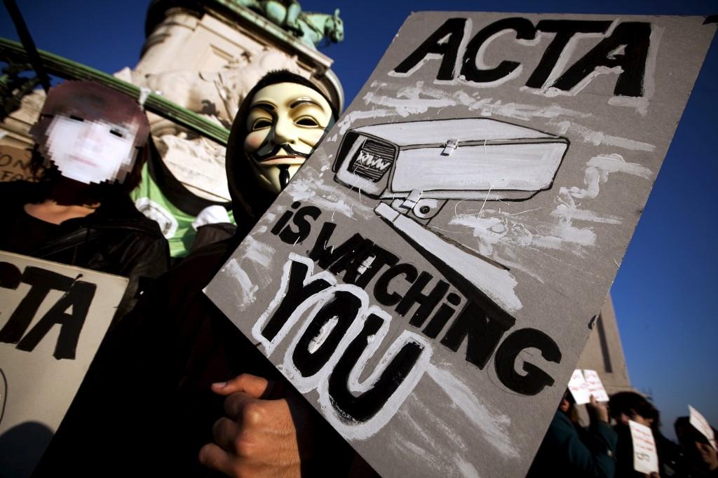 Protestos em Lisboa contra o ACTA, um acordo internacional criticado pela organização