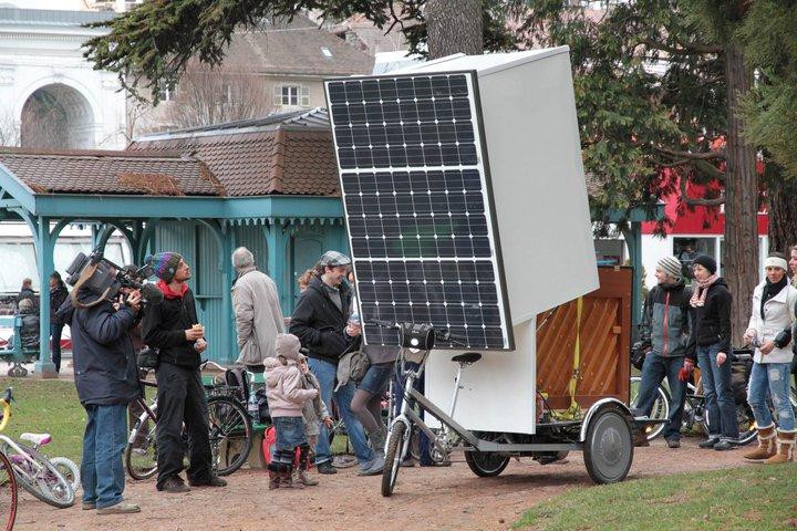 O primeiro dia. Partida de Annecy. 27 Fevereiro 2010. Bicicleta solar
