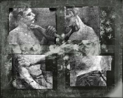 A pintura de dois lutadores que ficou por baixo da camada com a natureza maorta<b>Imagem: DR</b>