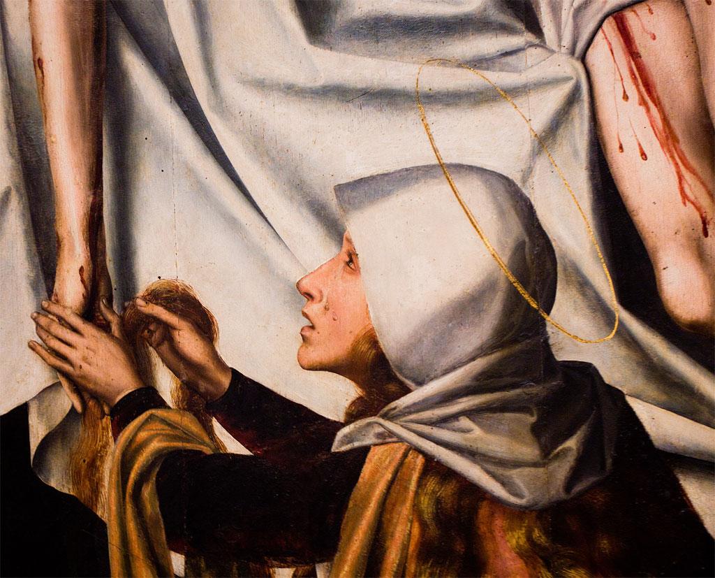 """Pormenor do """"Tríptico da Descida da Cruz"""", no Museu de Arte Antiga"""