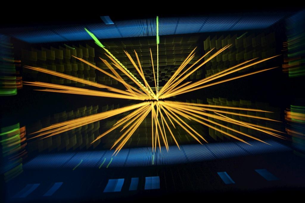 Representação de colisões entre protões para procurar o bosão de Higgs