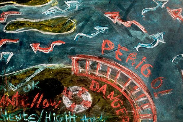 Ilha da Armona. Quadro com informações das marés e das correntes do mar