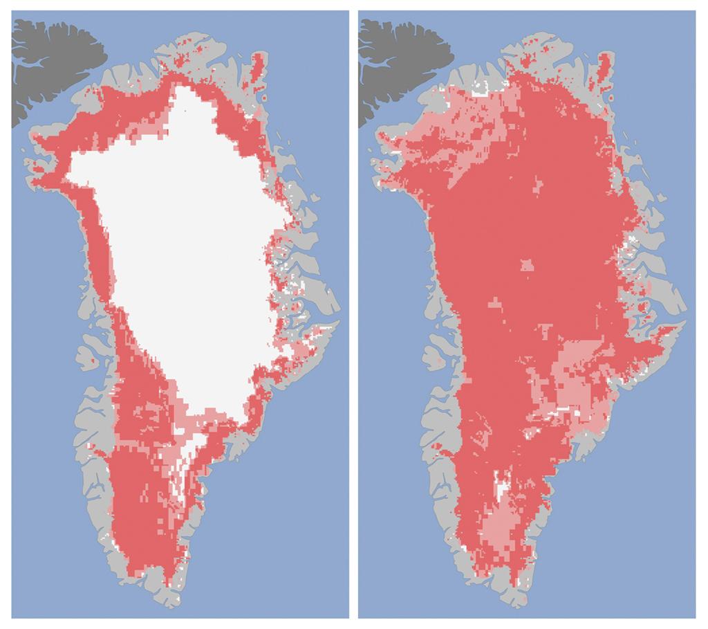 A área sem gelo da ilha saltou de 40% para 97% em quatro dias