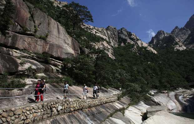 Descida de montanha em Kumgang.