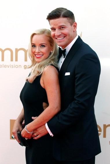 O actor David Boreanaz da série de televisão Bones e a sua mulher Jaime