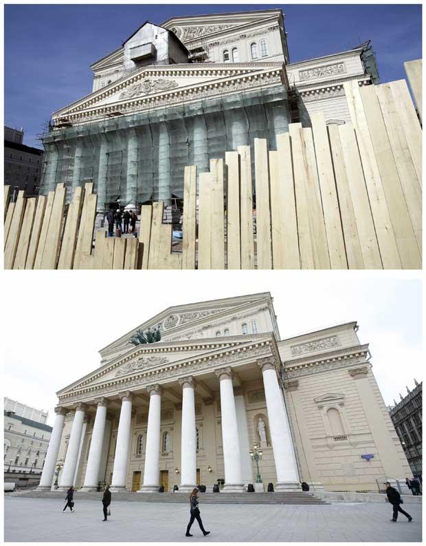 Fotos combinadas mostram a façada durante o restauro em Abril de 2010 e a 24 de Outubro de 2011.