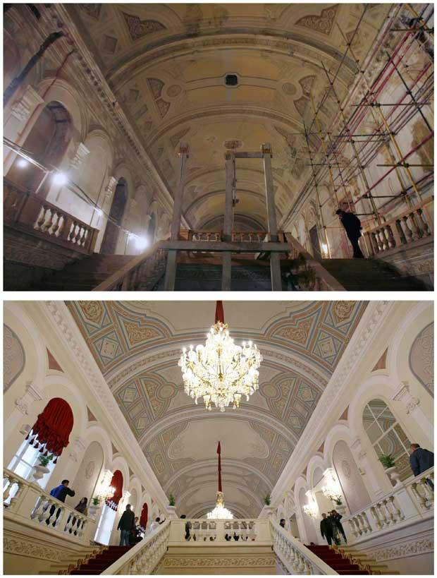 Fotos combinadas: o foyer em Janeiro de 2008 e fotografado a 24 de Outubro de 2011.