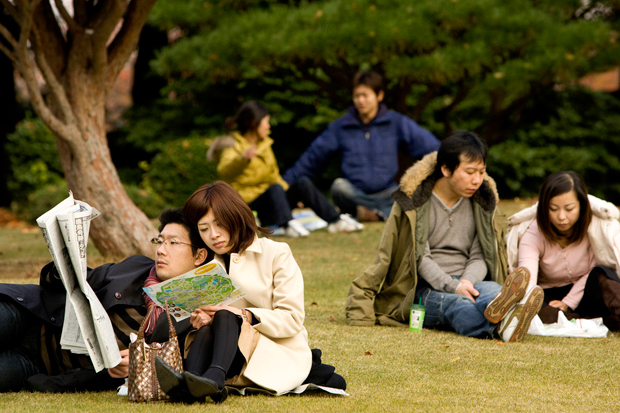 Ao fim-de-semana, os habitantes de Tóquio procuram o regresso à Natureza nos parques da cidade.