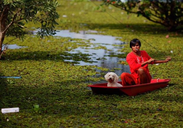 Tailândia, 9.11.2011 | As cheias têm sido trágicas para a Tailândia. Entre muitas imagens de tragédia e luta pela sobrevivência, eis a navegação de um homem e o seu cão pela área inundada de Ayutthaya.