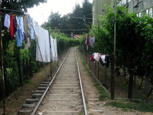 Um trecho que resta da antiga linha do Corgo em Vila Real.