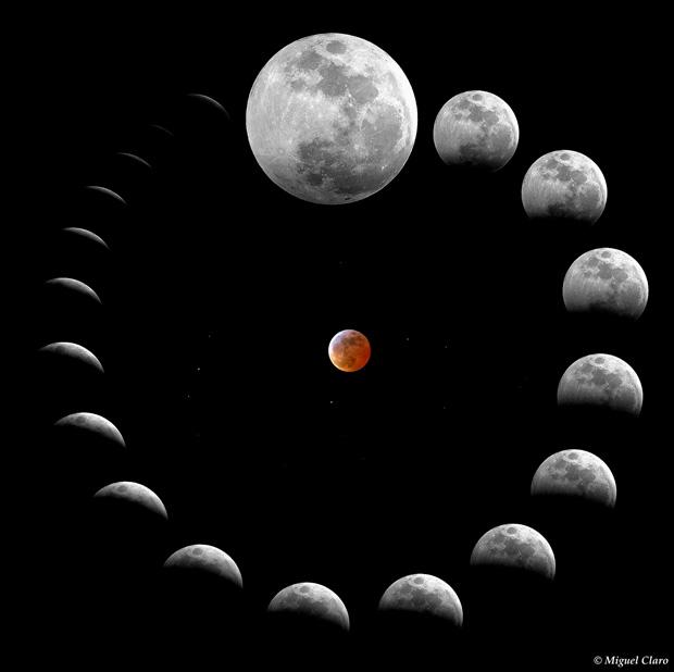 Mosaico da Sequência do eclipse até à fase da totalidade.