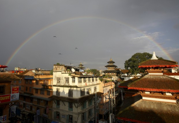Arco-íris sobre Katmandu. Setembro, 2011.