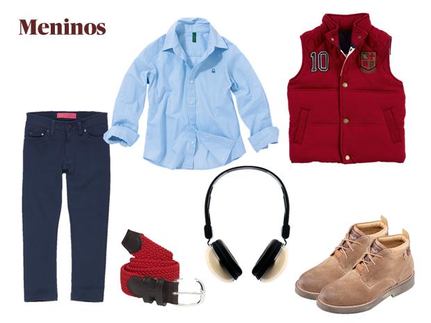 Calças|Ziggy|€12,99|Camisa|Benetton|€12,99|Colete|Hackett London|€110|Sapatos|PepeJeans|p.s.c.|Cinto|Hackett London|€55|Headphones|Benetton|€9,95