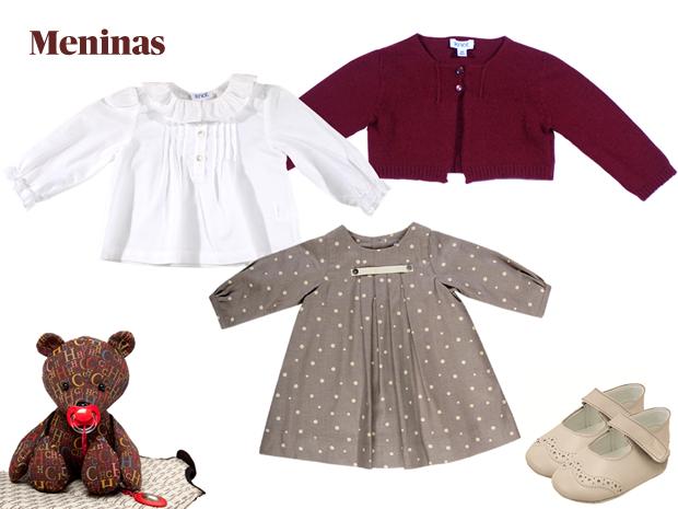 Urso|Carolina Herrera|€65|Camisa|Knot|€37,50| Casaco|Knot|p.s.c.|Vestido|Laranjinha|€34| Sapatos|Chicco|p.s.c.