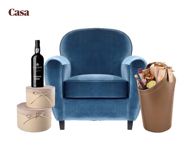 Caixas em pele e camurça|Continente|€12,99|Vinho do Porto|Barros|p.s.c.|Cadeirão azul|Area|€238|Cabaz|Vista Alegre/Atlantis|€150