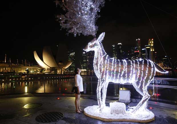 Singapura. Olhos nos olhos com um rena natalícia, com o centro financeiro de Singapura nos bastidores
