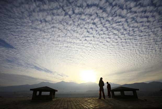 Nepal, 23.12.2011 | A admirar o pôr-do-sol em Swoyambhunath Stupa, Katmandu