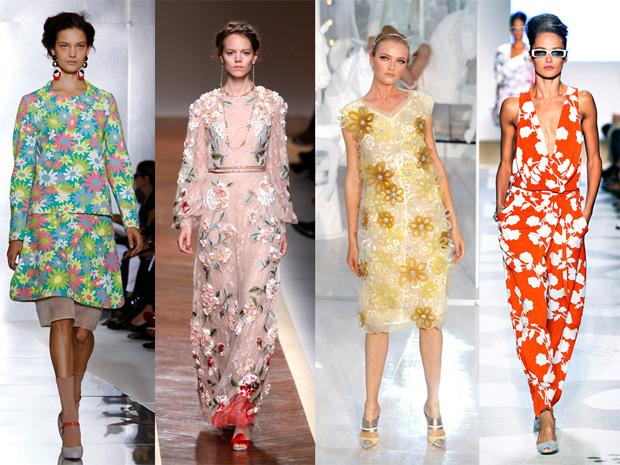 Flores Marni, Valentino, Louis Vuitton e Diane Von Furstenberg.