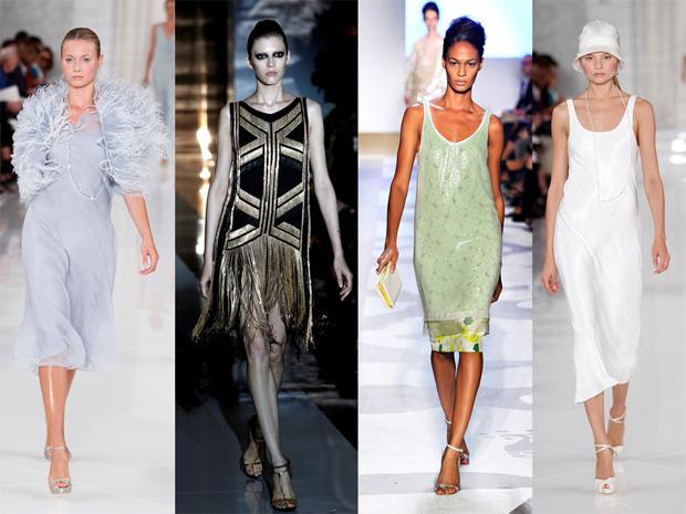 Anos 20 Ralph Lauren, Gucci, Diane Von Furstenberg e Ralph Lauren.