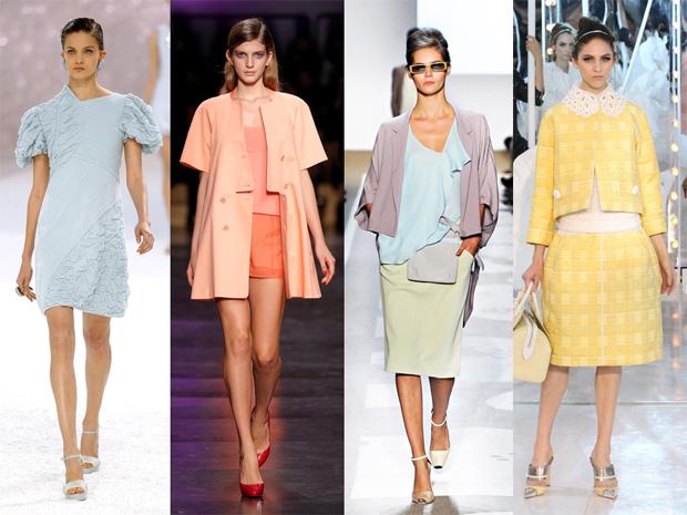 Pastel rebuçado Chanel, Cacharel, Diane Von Furstenberg e Louis Vuitton.