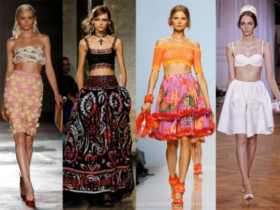 Bra tops Prada, Emilio Pucci, Blumarine e Nina Ricci.