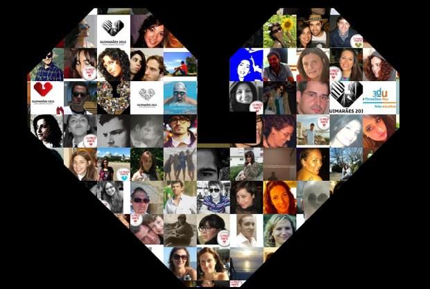 O coração que é logo do evento, aqui formado por rostos de fãs da Guimarães 2012 no Facebook