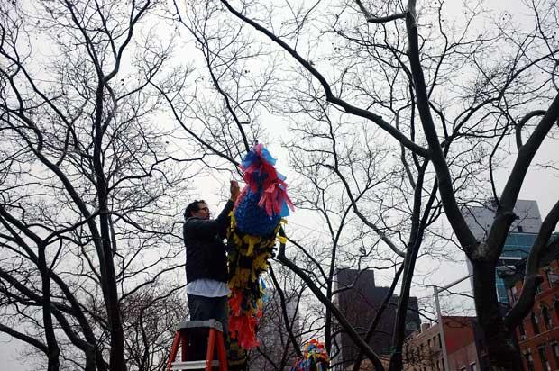 EUA. A decorar uma despida árvore no Inverno de Nova Iorque