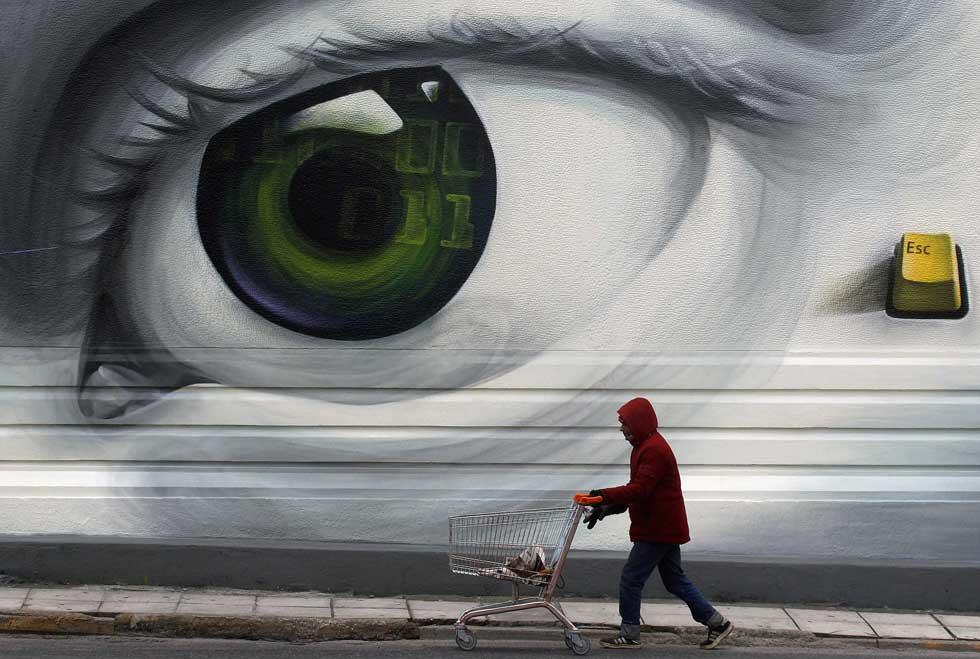 GRÉCIA. 30.01.2012. Um grafito visto em Atenas.