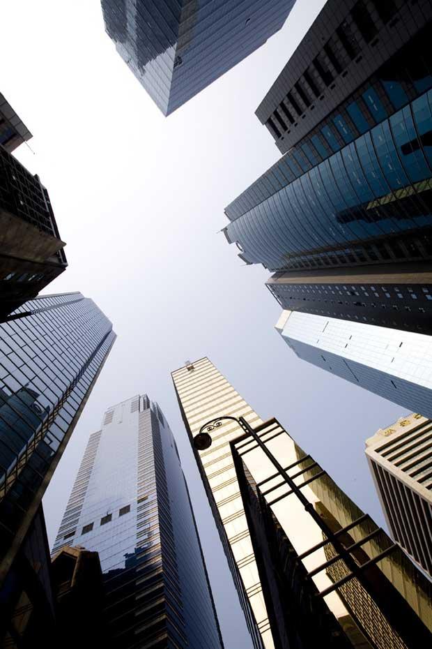 Os arranha-céus marcam o horizonte do centro financeiro.