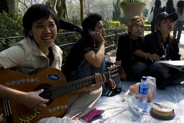 Música e descontracção no parque.