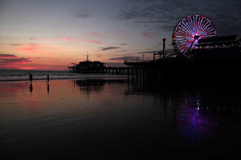 Um postal obrigatório: pôr-do-sol sobre Santa Monica