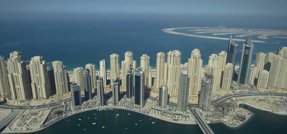 Jumeirah Beach Residence, com a ilha The Palm no horizonte